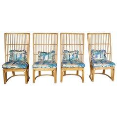 Boho Chic Bamboo Highback Chairs Bohemian Rattan 1970s Mid-Century Modern 51