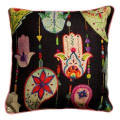 Boho Chic Black Multicolored Linen Bohemian Cushion/Pillow