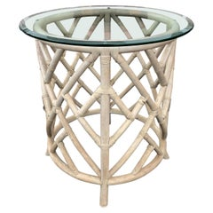 Boho Chic Chinoserie Round Rattan Center or Side Table