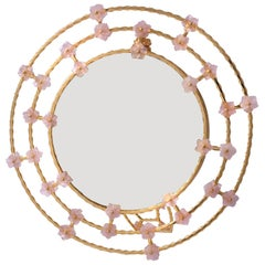 Boho Chic Gilt Silver Picture Frame with Pink Quartz Flowers, Gratitude Round