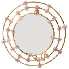 Boho Chic Gilt Silver Picture Frame with Pink Quartz Flowers, Gratitude Round
