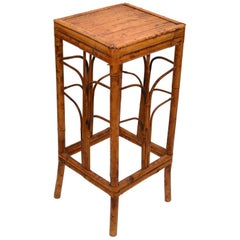 Boho Chic Handcrafted Mid-Century Modern Bamboo & Rattan Side Table, Plant Stand