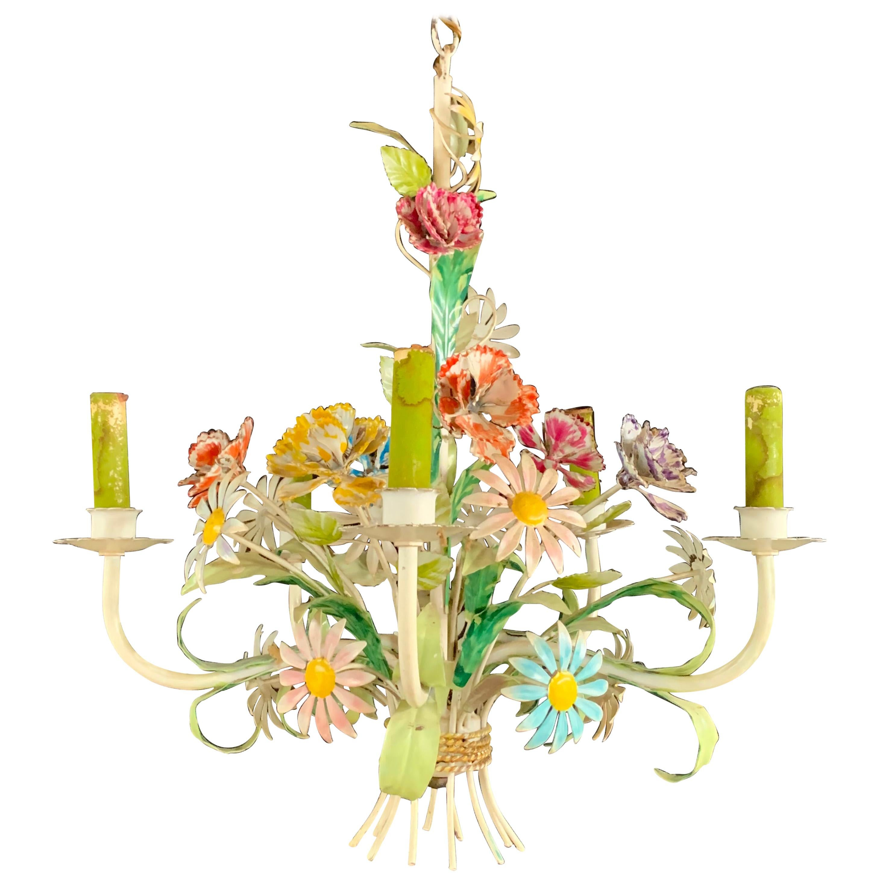 Boho Chic Italian Tole Metal Flowers Chandelier with Four Arms