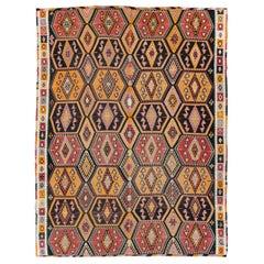 Boho Chic Mid-20th Century Handmade Turkish Flatweave Kilim Large Room Size Rug