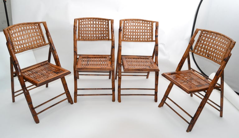 Boho Chic Mid-Century Modern Handcrafted Bamboo & Cane Folding Bistro Chairs, 4 For Sale 6