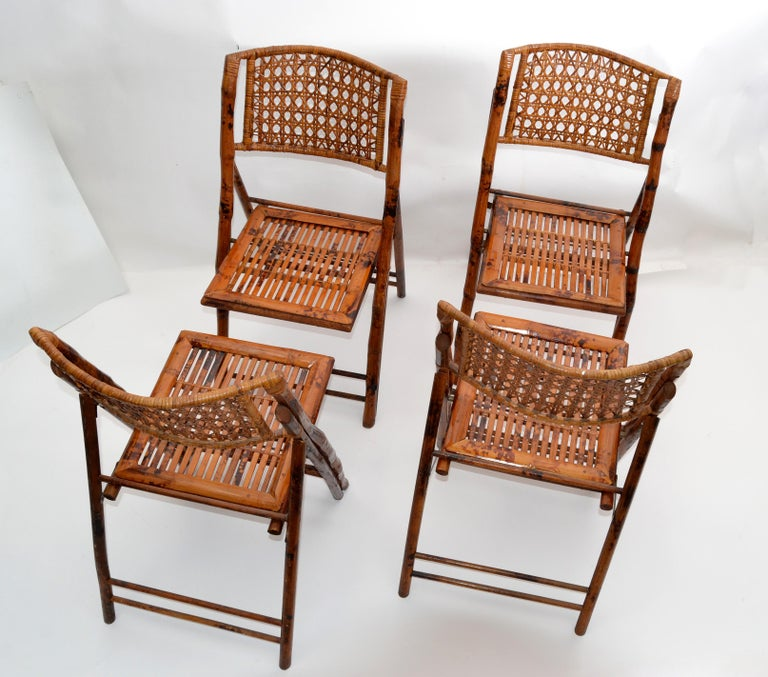 Bohemian Boho Chic Mid-Century Modern Handcrafted Bamboo & Cane Folding Bistro Chairs, 4 For Sale