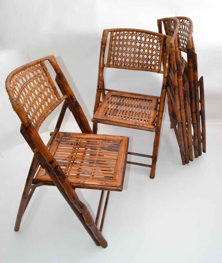 American Boho Chic Mid-Century Modern Handcrafted Bamboo & Cane Folding Bistro Chairs, 4 For Sale