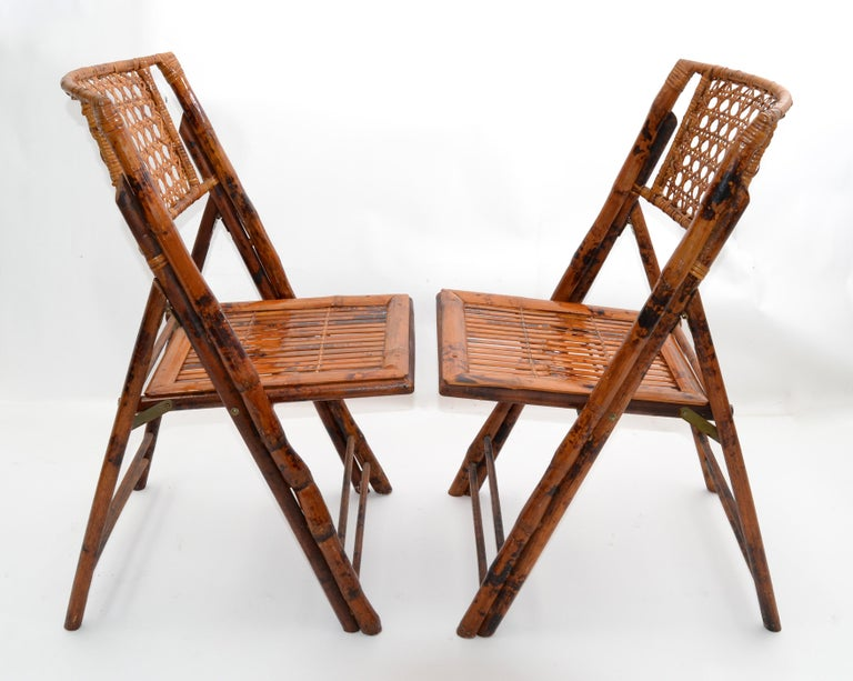 Hand-Crafted Boho Chic Mid-Century Modern Handcrafted Bamboo & Cane Folding Bistro Chairs, 4 For Sale