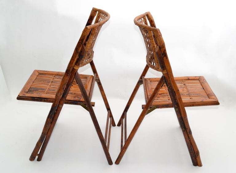 Boho Chic Mid-Century Modern Handcrafted Bamboo & Cane Folding Bistro Chairs, 4 In Good Condition For Sale In Miami, FL