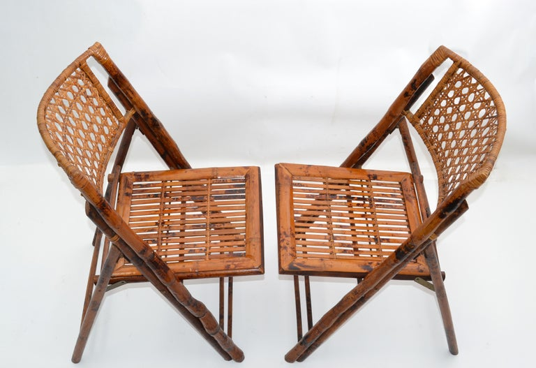 Late 20th Century Boho Chic Mid-Century Modern Handcrafted Bamboo & Cane Folding Bistro Chairs, 4 For Sale