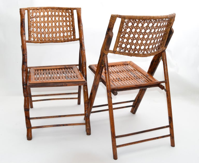 Boho Chic Mid-Century Modern Handcrafted Bamboo & Cane Folding Bistro Chairs, 4 For Sale 1