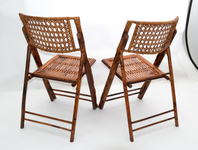 Boho Chic Mid-Century Modern Handcrafted Bamboo & Cane Folding Bistro Chairs, 4 For Sale 2