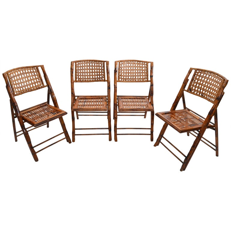 Boho Chic Mid-Century Modern Handcrafted Bamboo & Cane Folding Bistro Chairs, 4 For Sale