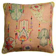 Boho Chic Multicolored Pink Bohemian Natural Linen Pillow/Cushion
