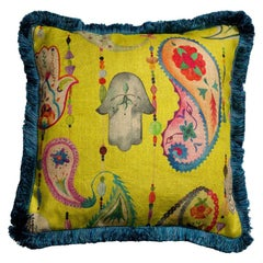 Boho Chic Multicolored Yellow Natural Linen Pillow Cushion