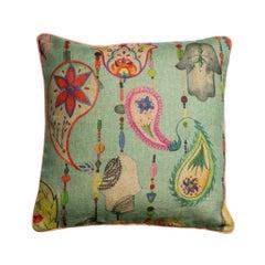 Boho Chic Paisly Print Multicoloured Blue Bohemian Natural Linen Cushion Pillow