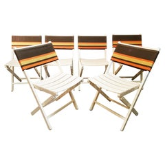 Boho Chic Set of 6 Midcentury Folding Chairs, France, 1960s