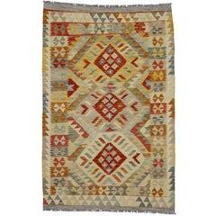 Boho Chic Vintage Afghani Shirvan Kilim Rug with Tribal Style, Accent Rug