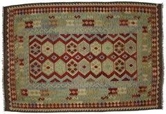 Boho Chic Vintage Afghani Shirvan Kilim Rug with Tribal Style, Flat-Weave Kilim