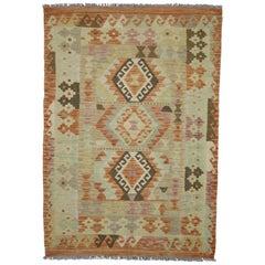 Boho Chic Vintage Afghani Shirvan Kilim Rug with Tribal Style