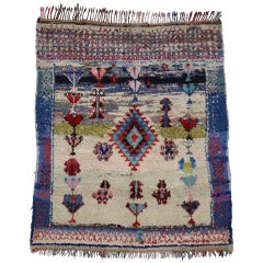 Boho Chic Vintage Berber Moroccan Boucherouite Rug with Tribal Style