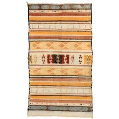 Boho Chic Vintage Berber Moroccan Kilim Rug with Tribal Style