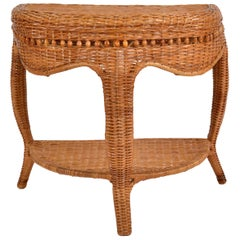 Boho Chic Vintage Handcrafted Bamboo, Cane & Wicker Three-Legged Console, Table
