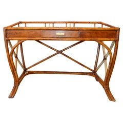 Boho Chic Vintage Handcrafted Bamboo Desk, Writing Desk with Drawer & Glass Top