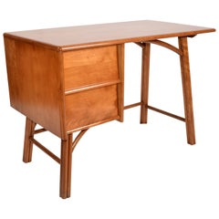 Boho Chic Vintage Handcrafted Bamboo Desk, Writing Desk with Two Drawers, 1970s