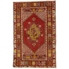 Boho Chic Vintage Turkish Oushak Rug with Modern Style, Tribal Accent Rug
