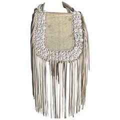 Boho Fringed Leather Shoulderbag W/ Cowrie Shell Snakeskin Embellishment