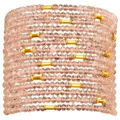 Boho Rose Quartz and Gold Bead Cuff Bracelet