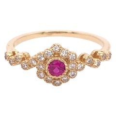 Boho Ruby and Diamond Yellow Gold Ring
