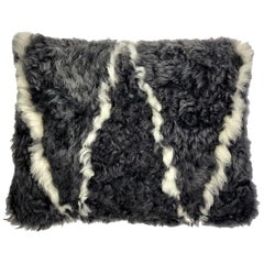 Boho Sheepskin Pillow Cushion Grey / White