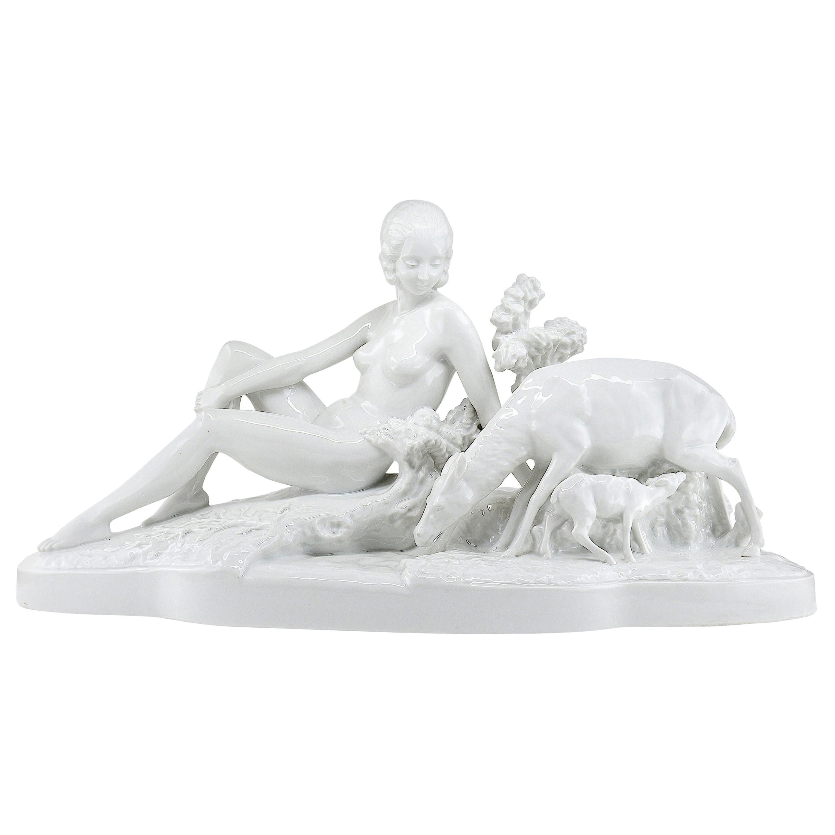 Bohumil Rezl French Art Deco Sculpture in Glazed Porcelain Biscuit, Late 1920s