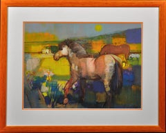 Spring Foal. Original Equestrian Horse Modern Painting.A Playful Sophistication.