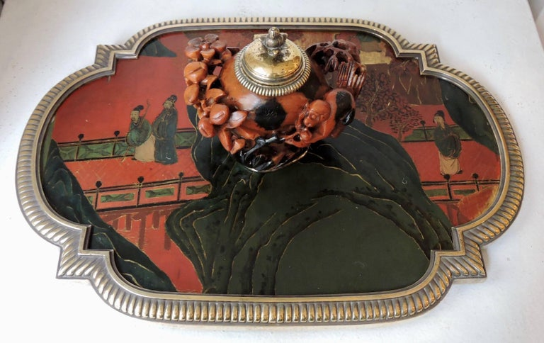Louis XVI Boin-Taburet Paris Soapstone Inkwell, Ormolu and Chinese Lacquer, circa 1880 For Sale