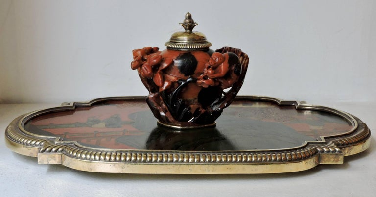 Boin-Taburet Paris Soapstone Inkwell, Ormolu and Chinese Lacquer, circa 1880 In Good Condition For Sale In Saint-Ouen, FR