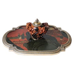 Boin-Taburet Paris Soapstone Inkwell, Ormolu and Chinese Lacquer, circa 1880