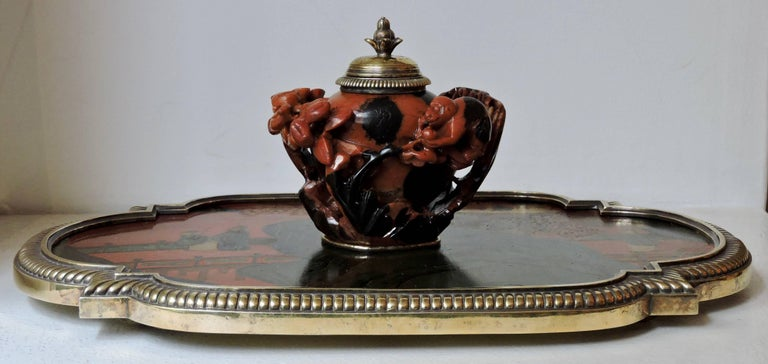 Hand-Carved Boin-Taburet Paris Soapstone Inkwell, Ormolu and Chinese Lacquer, circa 1880 For Sale