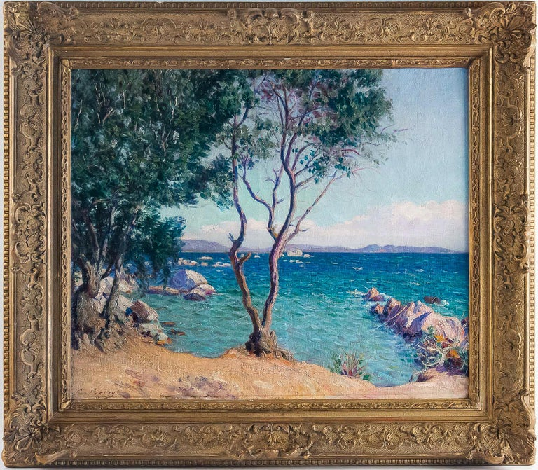 Boiry Camille, oil on canvas Provençal landscape, circa 1920  A beautiful and decorative oil on canvas depicting a Sea View in a Provençal Landscape. Lovely movement and colors on our painting sign on the lower left by Camille Boiry, a famous