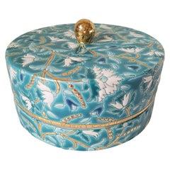 Boîte à Caviar Emaux de Longwy, Green Floral Motif