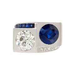 Boivin Art Deco Sapphire, Diamond and Platinum Bypass Style Ring