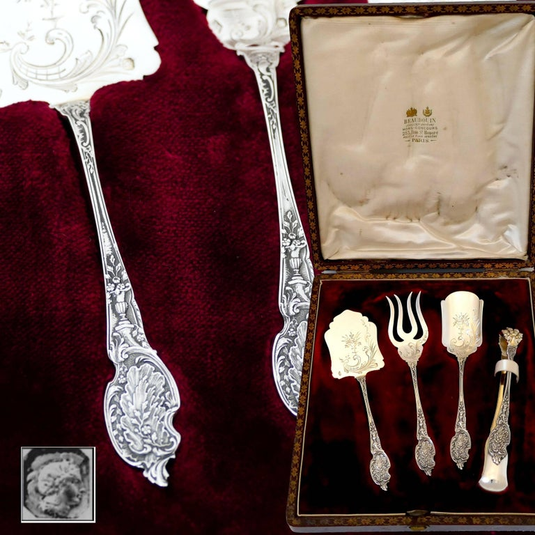 Rococo Boivin French Sterling Silver Dessert Hors D'oeuvre Set Four Pieces Original Box For Sale