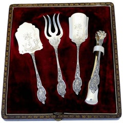 Boivin French Sterling Silver Dessert Hors D'oeuvre Set Four Pieces Original Box