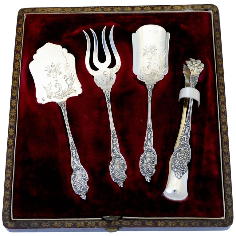 Boivin French Sterling Silver Dessert Hors D'oeuvre Set Four Pieces Original Box For Sale