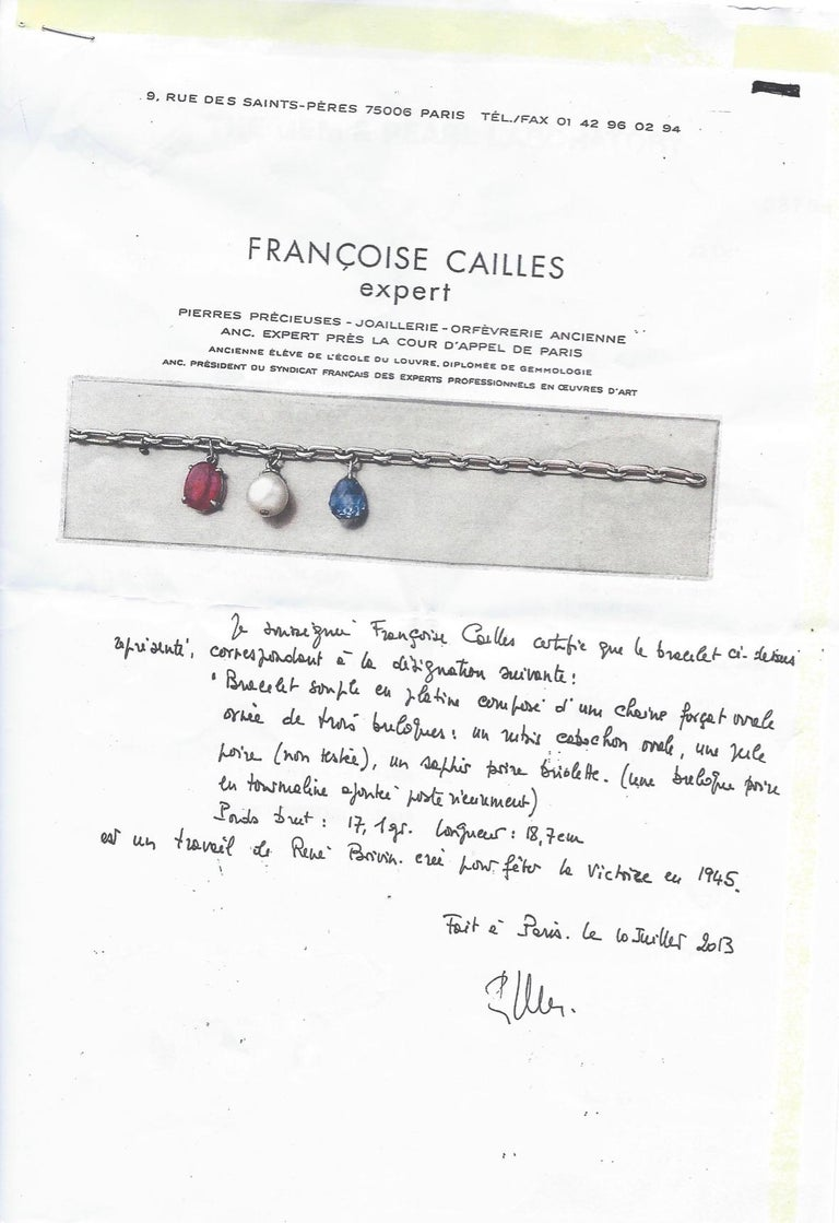 Rene Boivin Victory 1945 Sapphire Ruby Pearl Platinum Bracelet In Excellent Condition For Sale In Monte Carlo, MC