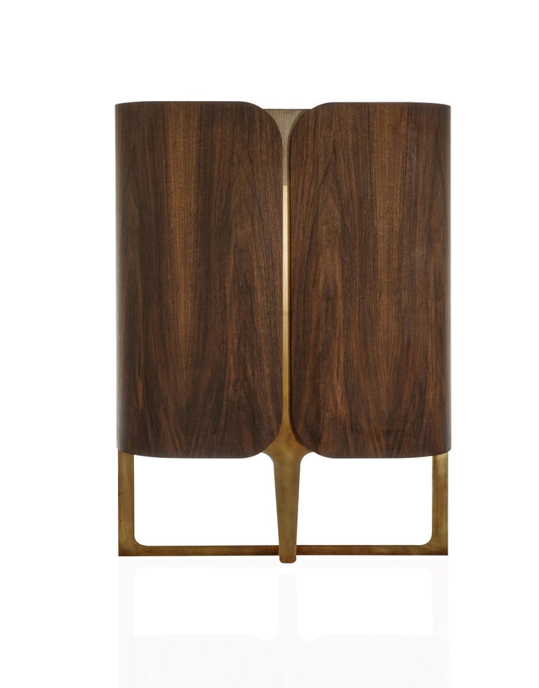 Modern Boji Cabinet, Contemporary Bar Cabinet in Aged Brass and Walnut with Lighting For Sale