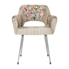 Bokja Pixelated Armchair, Multicolored Embroidered Fabric, Mid-Century Modern