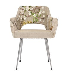 Bokja Primavera Armchair, Multicolored Embroidered Fabric, Mid-Century Modern